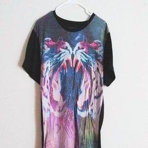 Tiger Graphic T-Shirt Mens Size Large Tee